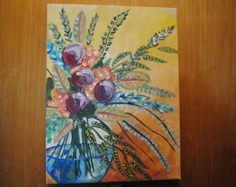 Painting canvas Flowers painting floral arrangement art by ValV 12x16 art