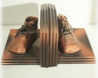 Bronze Baby Shoe, Bookends, Baby Decor, Baby Shoe