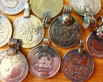 Tribal Coins, 10 Mediumsize Polished Kuchi Tribal Coins, Diameter app. 1 in