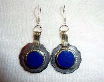 Blue Tribal Earrings ,Kuchi Coins