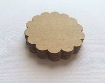 """25 Kraft Scallop Circles, Paper Punches, Die cuts - 2"""""""