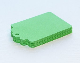 25 Lime Green Hang Tags, Paper Punches, Die cuts - 2 1/4""