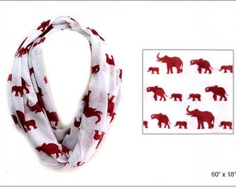 White with Red Elephants Infinity Scarf