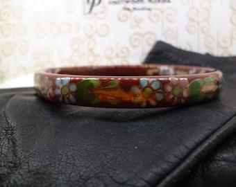 Ornate Cloisonne REd enamel floral bracelet