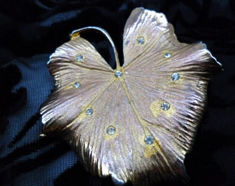 Vintage Coro leaf brooch with tiny studs
