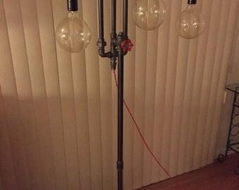Industrial floor lamp and three Edison Bulbs