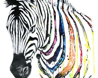 Zebra Head, Animal Art, Abstract Art, Colorful Artwork, Print, Wall art
