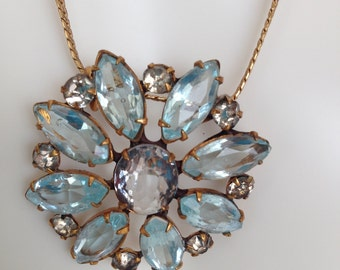 Unsigned Austrian Crystal Ice Blue, and Clear Rhinestone Pendant Necklace