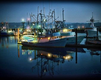 A Winter Night's Dream On Yaquina Bay - Metal print, Photograph On Metal