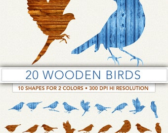 Wooden birds clipart,bird clip art,birds silouette,scrapbook,birds,background,bird decoration,bird image BIRD3
