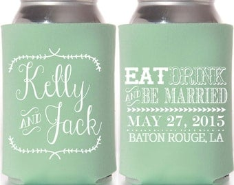 "Custom ""Eat Drink and Be Married"" Can Cooler"