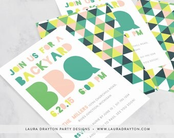 "Geometric Backyard Barbecue 5"" x 7"" Party Invitation - Digital or Printed"