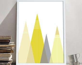 Yellow Mountain Print, Triangle Print, Geometric Printable, Yellow Triangles, Instant Download, Yellow and Grey, Geometric Decor