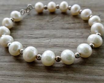 Sterling Silver Pearl Bracelet - Freshwater Pearl Bracelet - Bridal Bracelet - Ivory Pearl Jewelry