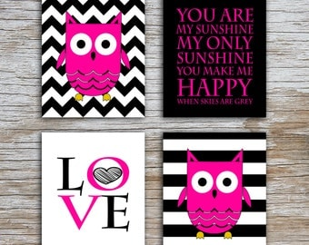 Kids (D) - You Are  My Sunshine - Owl - Black Hot Pink - 4 Parts