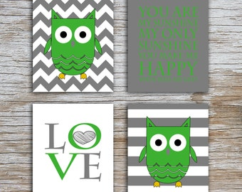 Kids (D) - You Are  My Sunshine - Owl - Gray Green - 4 Parts
