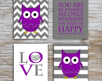 Kids (D) - You Are  My Sunshine - Owl - Gray Purple - 4 Parts