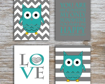 Kids (D) - You Are  My Sunshine - Owl - Gray Teal - 4 Parts