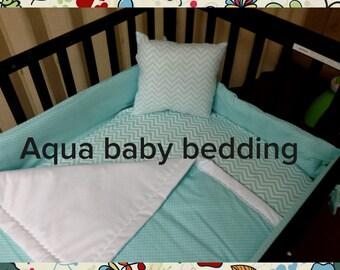Aqua baby bedding in polka dot and chevron