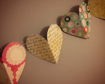 Paper Sweetheart Garland - Heart Garland - Baby Shower / Bridal Shower / Birthday Party Decoration