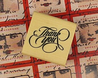 Timbro legno Thank you wooden stamp with ink pad