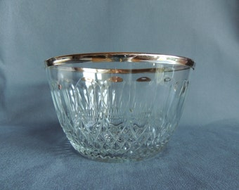 Crystal glass bowl with silver ring * made in England