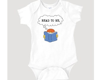 Read To Me typewriter font quote and book graphic on 100% Cotton Onesie/Creeper/Bodysuit