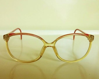 1980's glasses frames Zeiss West Germany yellow red large round