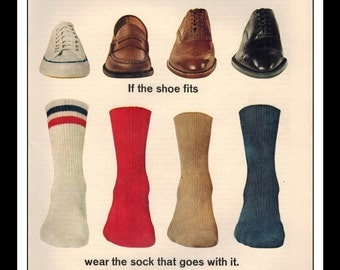 "Vintage Print Ad September 1962 : Burlington Gold Cup Socks ""If the shoe fits"" Fashion Clothing Wall Art Decor 8.5"" x 11"" Advertisement"