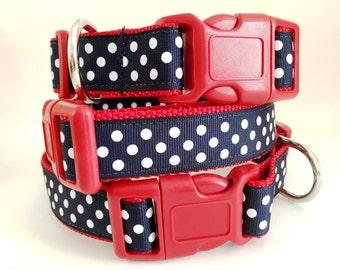 Adjustable Dog Collar- Polka Dot Dog Collar - Medium or Large Dog Collar - Red White and Blue Dog Collar - Girl Dog Collar-Female Dog Collar