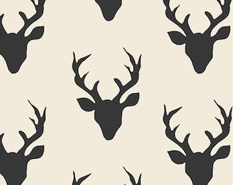 Deer Head Fabric, Quilting Fabric by the Yard, Hello Bear, Art Gallery, Buck Forest Night, Elk, Woodland, Antlers, Rustic, Yardage