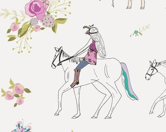 "Modern Horse Cotton Fabric, Boho Chic, Bohemian, Anna Elise Art Gallery Fabric ""Encolureful and Pretty"""