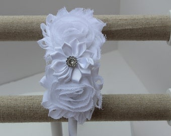 White headband flower girl headband white wedding headband plastic satin headband toddler hard headband flower girl outfit girls headband