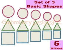 Basic Shapes Applique - Circle Applique - Square Applique - Triangle Applique - 5 Sizes - Machine Embroidery Design File