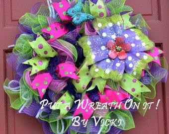 Big Purple Flower Wreath 24 inches  SALE 75.00