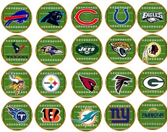 Football Teams  Edible Images  2 Inch Cupcake or Cookie Toppers