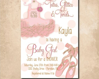 "Baby Girl Shower Invitation -""Tutus, Glitter and Twirls"" with gold glitter detail & monogram  /digital file/printable/wording can be changed"