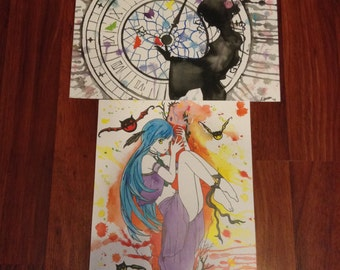Butterflies of Time / Vampire Anime Watercolor Prints