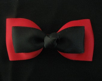 hair bow ribbon girl accessories head clip red black medium