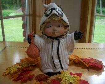 ceramic ghost girl tot trick or treater