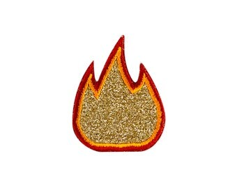 Fire / Flame Emoji Embroidered Iron On Patch - FREE SHIPPING