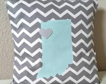 16x16 Indiana pillow cover. Custom pillow. State pillow. Throw pillow case