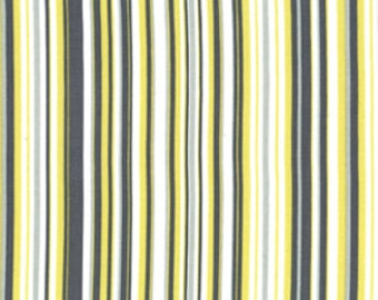 Yellow and Gray Striped Fabric - Citron and Gray Playful Stripe - Michael Miller - Fabric by the Half Yard