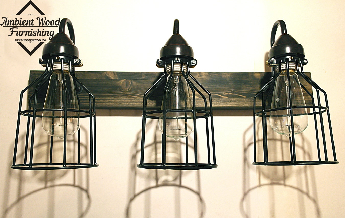 Bathroom Cages Vanity Bar Light Fixture Industrial Style Pine