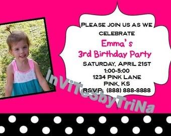 Pink and Black Birthday Invitation