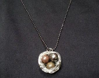 Birds Nest Necklace w/beaded chain