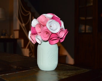Rustic Pink and Mint Paper Rose Bouquet in a hand painted mason jar