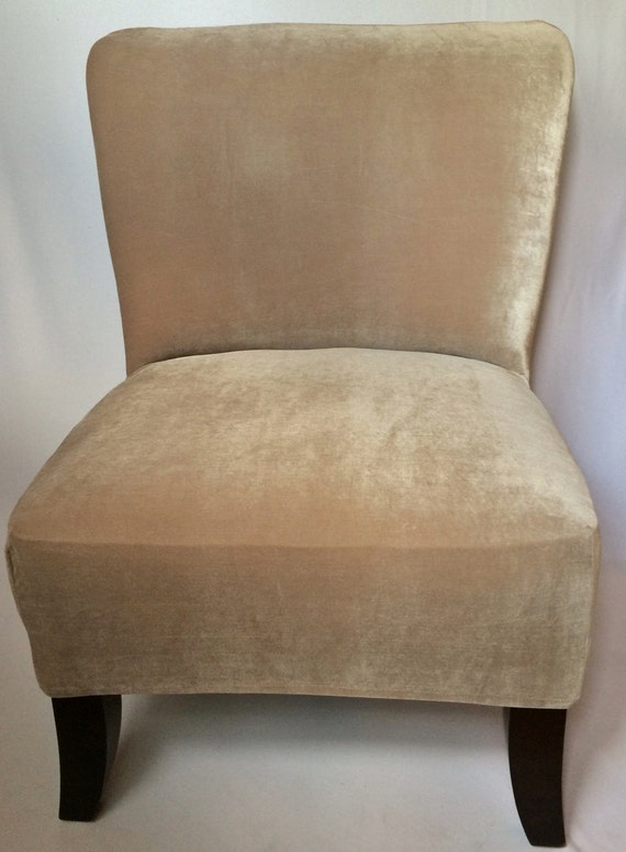 Slipcover Beige Velvet Stretch Chair Cover For Armless Chair