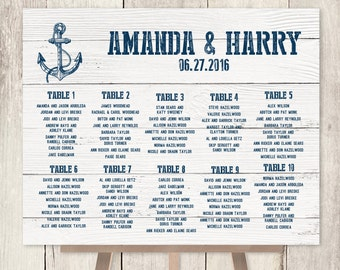 Nautical Wedding Seating Chart / Nautical Sign, Navy Anchor / Nautical Planks / Custom Seating Sign ▷ Printable File {or} Printed & Shipped