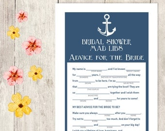 Nautical Bridal Shower Game DIY / Navy Blue and Anchor / Mad Libs Printable PDF / Advice for the Bride / Wedding Shower ▷ Instant Download